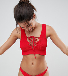 Купальник бикини из жатой ткани с укороченным топом Hunza G - Красный