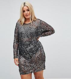 Короткое платье с пайетками и подкладкой NaaNaa Plus - Мульти