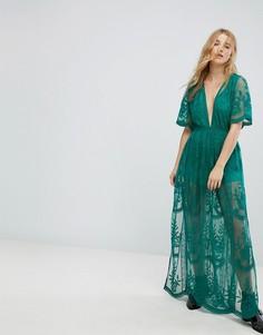 Кружевное премиум-платье макси с рукавами-кимоно Honey Punch - Зеленый