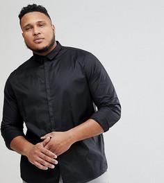 Приталенная рубашка со скрытой планкой Noak PLUS - Черный