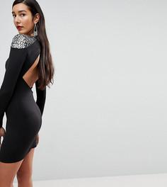 Облегающее платье мини с отделкой на плечах и открытой спиной ASOS TALL - Черный