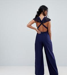 Кружевной комбинезон с запахом и широкими штанинами ASOS PETITE - Темно-синий