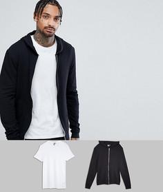 Черный худи и белая обтягивающая футболка с круглым вырезом ASOS - СКИДКА - Мульти