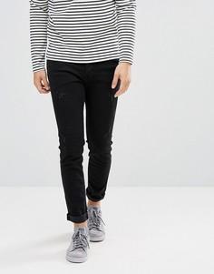 Состаренные зауженные джинсы Selected Homme - Черный