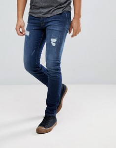 Состаренные зауженные джинсы Selected Homme - Синий