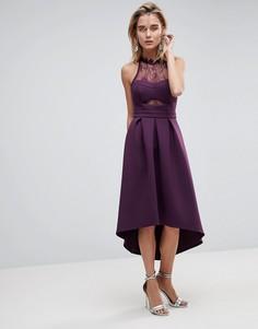 Платье для выпускного с кружевной отделкой топа и асимметричным подолом ASOS - Фиолетовый