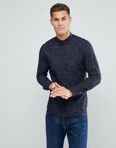 Темно-синяя рубашка с принтом Tom Tailor - Черный