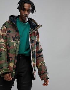 Горнолыжная куртка классического кроя с камуфляжным принтом Oakley Lookout Gore BZI 2L - Мульти