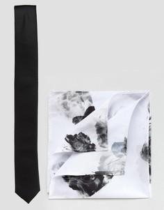 Галстук и платок для нагрудного кармана с цветочным принтом ASOS - Мульти
