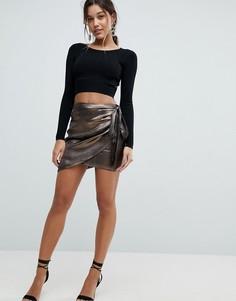 Атласная юбка с запахом и оборкой сбоку Ivyrevel - Золотой
