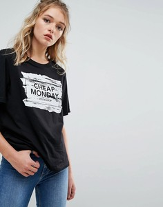 Футболка с логотипом и принтом мазков кисти Cheap Monday - Серый