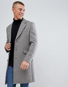 Шерстяное пальто в клетку ASOS - Коричневый