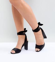 Бархатные босоножки на блочном каблуке для широкой стопы New Look - Черный