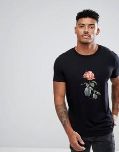 Черная футболка с круглым вырезом и принтом HUGO - Черный