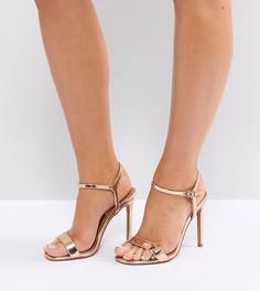 Босоножки на каблуке для широкой стопы ASOS HANDS DOWN - Золотой