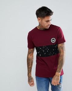 Бордовая обтягивающая футболка со вставкой в крапинку Hype - Красный