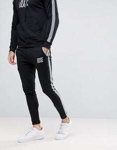 Черные облегающие джоггеры со светоотражающей полосой Rose London - Черный