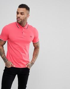 Коралловая футболка-поло узкого кроя с двойным кантом Fred Perry - Розовый