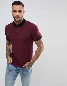 Бордовая узкая футболка-поло из пике с кантом Fred Perry - Красный