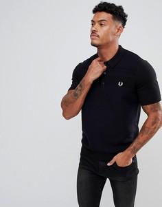 Черная фактурная футболка-поло с воротом на молнии Fred Perry - Черный