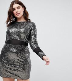 Платье мини с пайетками и сетчатыми вставками ASOS CURVE - Черный