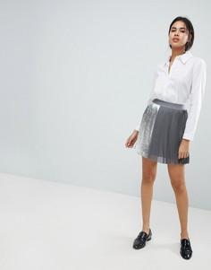 Плиссированная мини-юбка Sisley - Серый