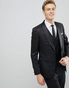 Приталенный пиджак с блестящим цветочным узором Burton Menswear - Черный