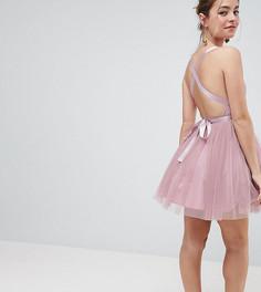 Платье мини для выпускного из тюля с лентой-завязкой ASOS PETITE PREMIUM - Розовый