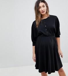 Приталенное платье на пуговицах для кормящих мам ASOS MATERNITY - Черный