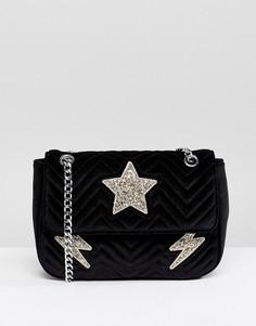 Стеганая бархатная сумка на плечо с блестками Skinnydip - Черный
