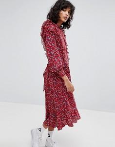 Платье макси с оборками и цветочным принтом STYLENANDA - Красный