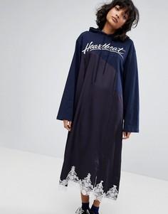 Платье с капюшоном и контрастной кружевной отделкой STYLENANDA - Темно-синий