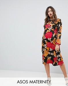 Платье миди с цветочным принтом ASOS MATERNITY - Черный