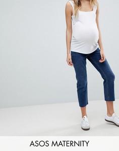 Прямые джинсы с завышенной талией и необработанными краями ASOS MATERNITY AUTHENTIC - Синий