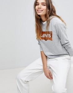 Свитшот с круглым вырезом и логотипом цвета металлик Levis - Серый Levis®