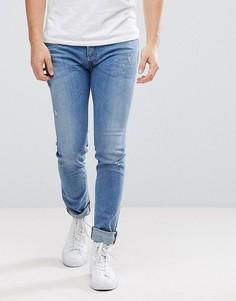 Выбеленные джинсы с потертостями Diesel - Синий