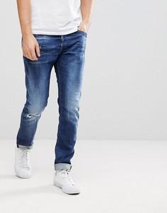 Выбеленные джинсы с потертостями Diesel Tepphar - Синий