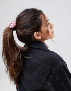 Резинка для волос ограниченной серии с помпонами в виде глаз - Розовый Asos