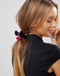 Резинка для волос ограниченной серии в виде банта с помпонами - Черный Asos