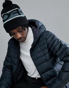 Черная шапка-бини с большим логотипом и помпоном Oakley Snow Factory - Черный