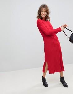 Платье миди в широкий рубчик ASOS - Красный