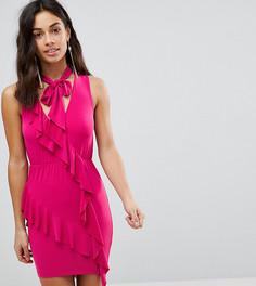 Платье-мини с оборкой и бантом ASOS PETITE - Розовый