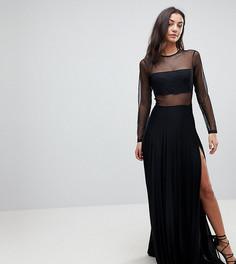 Платье макси с длинными рукавами и плиссированной юбкой ASOS TALL - Черный