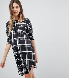 Свободное платье-футболка в клетку ASOS MATERNITY - Мульти