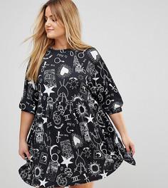 Свободное платье мини с принтом ASOS CURVE - Мульти