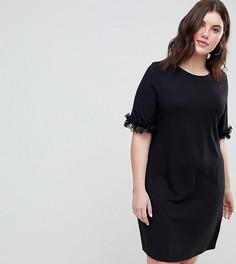 Платье-футболка с кружевными оборками на рукавах ASOS CURVE - Черный