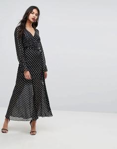 781295136c2 Женские длинные платья в пол (макси) в горошек – купить в Lookbuck