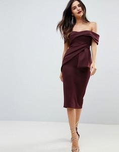 Платье-футляр миди со спущенными плечами и запахом ASOS - Фиолетовый
