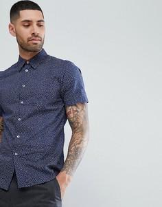 Темно-синяя рубашка с короткими рукавами PS Paul Smith - Темно-синий