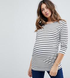 Трикотажный топ в полоску с рукавами 3/4 New Look Maternity - Черный